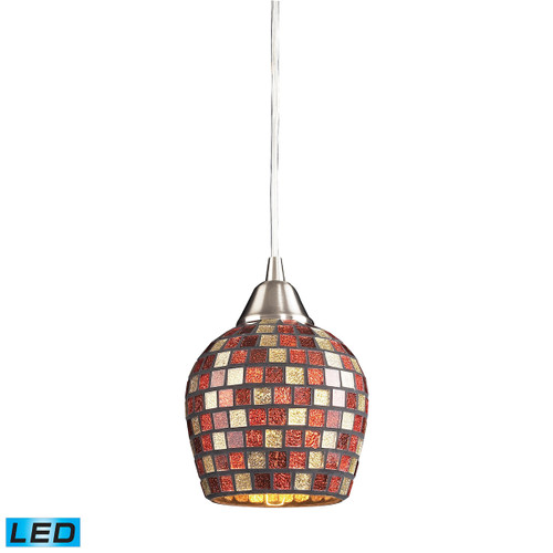 ELK Lighting 528-1MLT-LED Fusion 1-Light Mini Pendant in Satin Nickel with Multi-colored Mosaic Glass - Includes LED Bulb