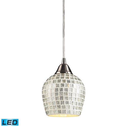 ELK Lighting 528-1SLV-LED Fusion 1-Light Mini Pendant in Satin Nickel with Silver Mosaic Glass - Includes LED Bulb