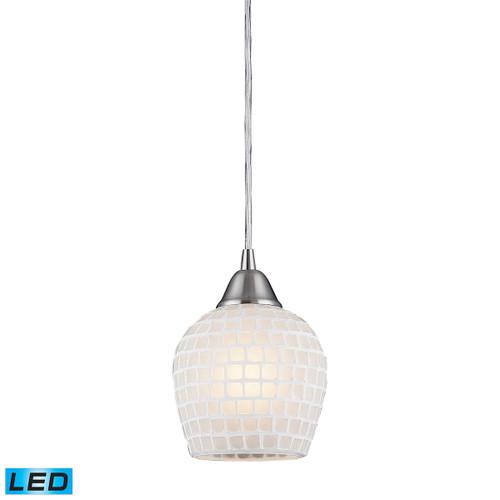 ELK Lighting 528-1WHT-LED Fusion 1-Light Mini Pendant in Satin Nickel with White Mosaic Glass - Includes LED Bulb