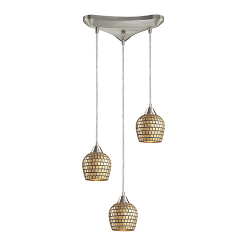 ELK Lighting 528-3GLD Fusion 3-Light Triangular Pendant Fixture in Satin Nickel with Gold Leaf Mosaic Glass