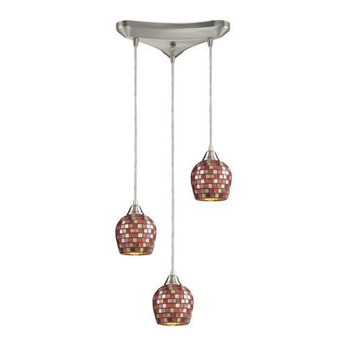 ELK Lighting 528-3MLT Fusion 3-Light Triangular Pendant Fixture in Satin Nickel with Multi-colored Mosaic Glass