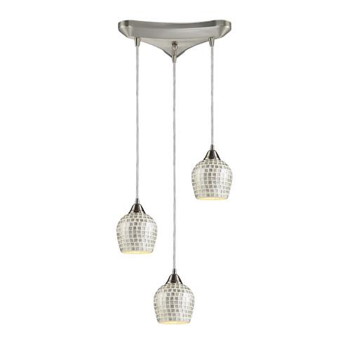 ELK Lighting 528-3SLV Fusion 3-Light Triangular Pendant Fixture in Satin Nickel with Silver Mosaic Glass