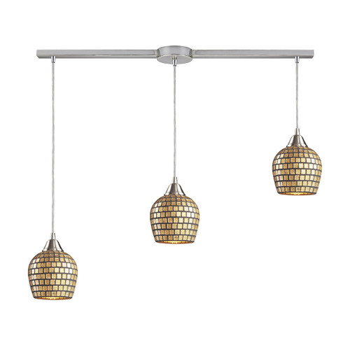 ELK Lighting 528-3L-GLD Fusion 3-Light Linear Pendant Fixture in Satin Nickel with Gold Leaf Mosaic Glass