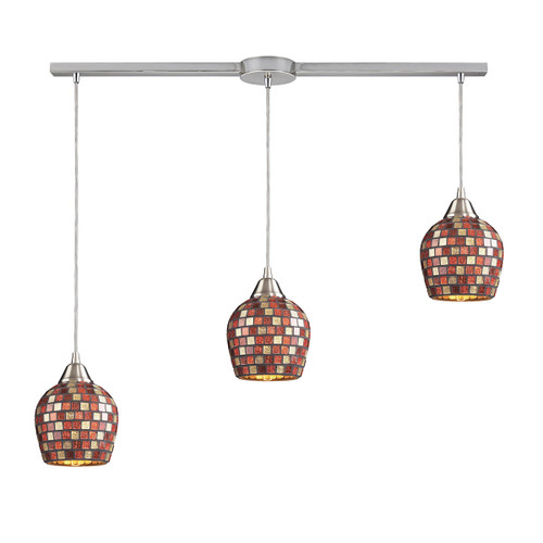 ELK Lighting 528-3L-MLT Fusion 3-Light Linear Pendant Fixture in Satin Nickel with Multi-colored Mosaic Glass