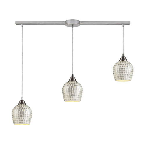 ELK Lighting 528-3L-SLV Fusion 3-Light Linear Pendant Fixture in Satin Nickel with Silver Mosaic Glass