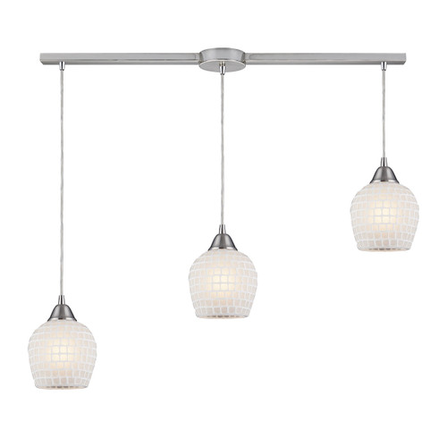 ELK Lighting 528-3L-WHT Fusion 3-Light Linear Pendant Fixture in Satin Nickel with White Mosaic Glass