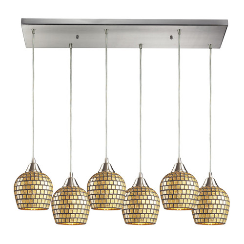 ELK Lighting 528-6RC-GLD Fusion 6-Light Rectangular Pendant Fixture in Satin Nickel with Gold Leaf Mosaic Glass