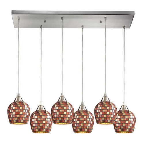 ELK Lighting 528-6RC-MLT Fusion 6-Light Rectangular Pendant Fixture in Satin Nickel with Multi-colored Mosaic Glass