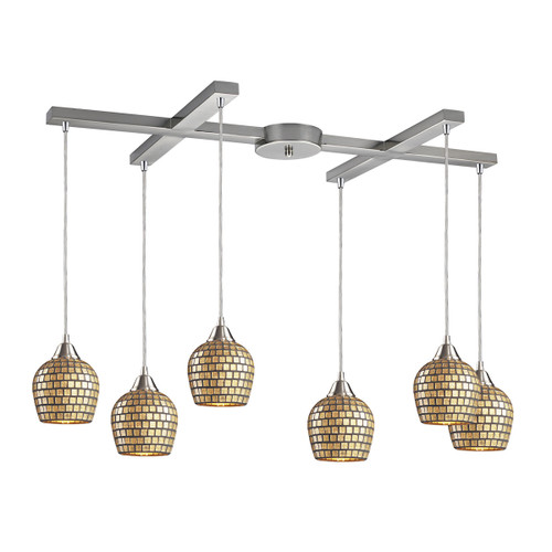 ELK Lighting 528-6GLD Fusion 6-Light H-Bar Pendant Fixture in Satin Nickel with Gold Leaf Mosaic Glass