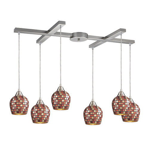 ELK Lighting 528-6MLT Fusion 6-Light H-Bar Pendant Fixture in Satin Nickel with Multi-colored Mosaic Glass