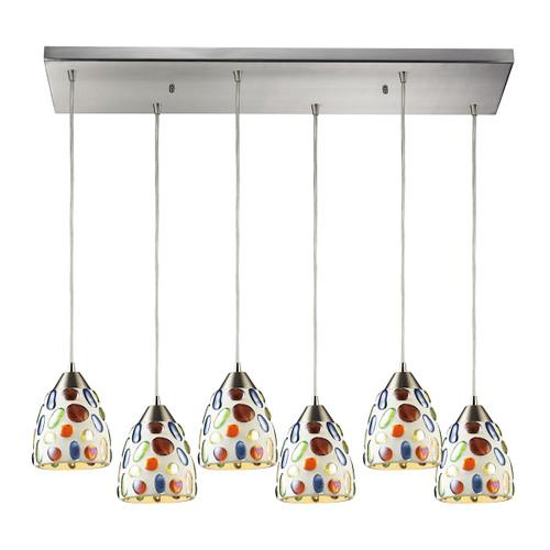 ELK Lighting 542-6RC Gemstone 6-Light Rectangular Pendant Fixture in Satin Nickel with Sculpted Multi-color Glass
