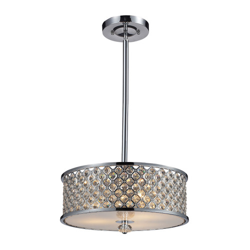 ELK Lighting 31101/3 Genevieve 3-Light Semi Flush in Polished Chrome with Crystal and Mesh Shade