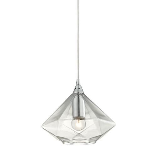 ELK Lighting 10440/1 Geometrics 1-Light Mini Pendant in Polished Chrome with Light Amber Faceted Glass