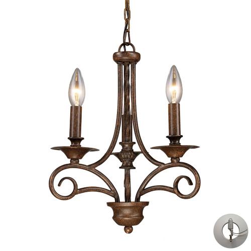 ELK Lighting 15041/3-LA Gloucester 3-Light Chandelier in Antique Bronze - Includes Adapter Kit