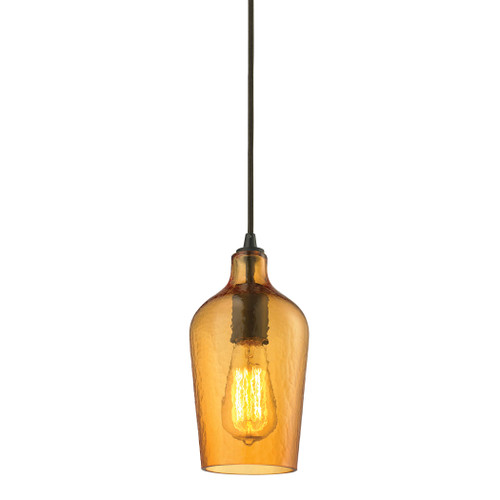 ELK Lighting 10331/1HAMB Hammered Glass 1-Light Mini Pendant in Oiled Bronze with Hammered Amber Glass