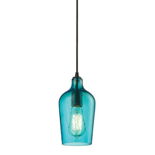 ELK Lighting 10331/1HAQ Hammered Glass 1-Light Mini Pendant in Oiled Bronze with Hammered Aqua Glass