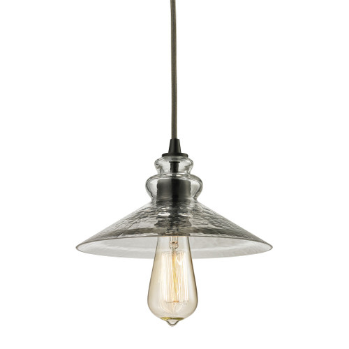 ELK Lighting 10332/1 Hammered Glass 1-Light Mini Pendant in Oiled Bronze with Hammered Clear Glass