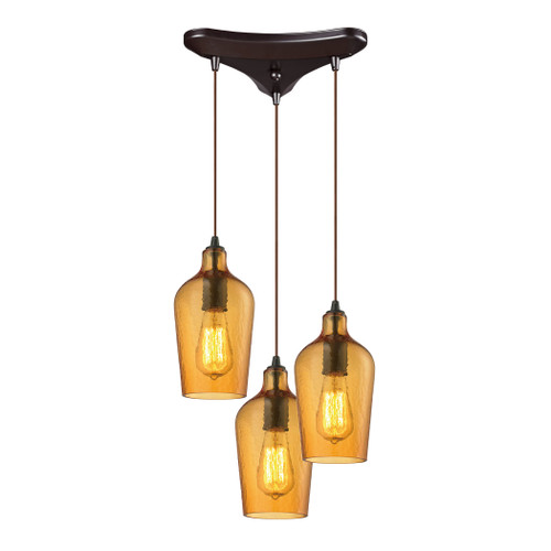 ELK Lighting 10331/3HAMB Hammered Glass 3-Light Triangular Pendant Fixture in Oiled Bronze with Hammered Amber Glass