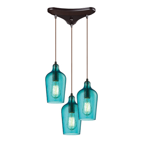 ELK Lighting 10331/3HAQ Hammered Glass 3-Light Triangular Pendant Fixture in Oiled Bronze with Hammered Aqua Glass