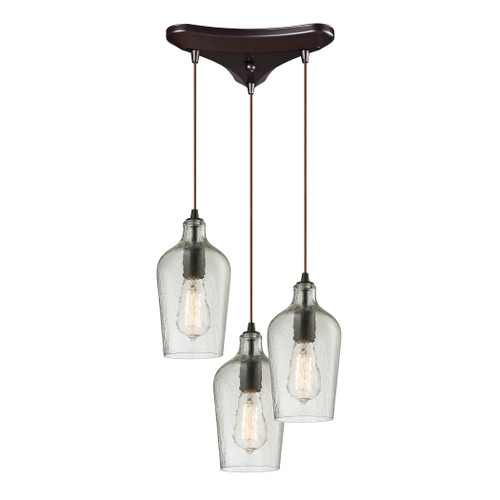 ELK Lighting 10331/3CLR Hammered Glass 3-Light Triangular Pendant Fixture in Oiled Bronze with Hammered Clear Glass