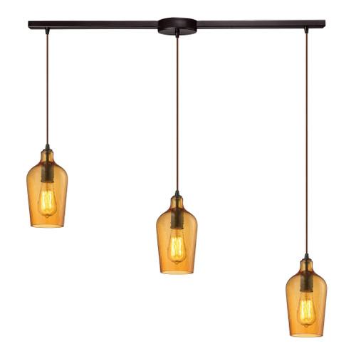 ELK Lighting 10331/3L-HAMB Hammered Glass 3-Light Linear Pendant Fixture in Oiled Bronze with Hammered Amber Glass