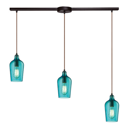 ELK Lighting 10331/3L-HAQ Hammered Glass 3-Light Linear Pendant Fixture in Oiled Bronze with Hammered Aqua Glass