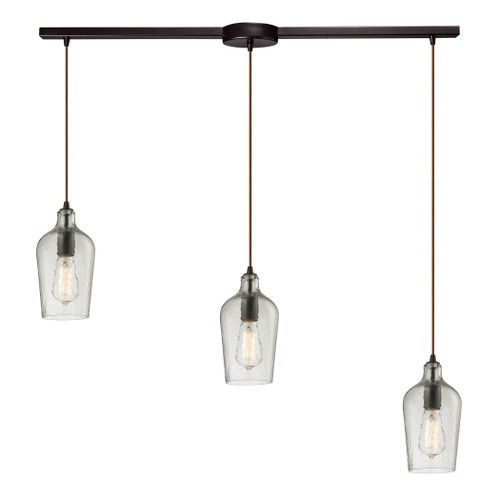 ELK Lighting 10331/3L-CLR Hammered Glass 3-Light Linear Pendant Fixture in Oiled Bronze with Hammered Clear Glass