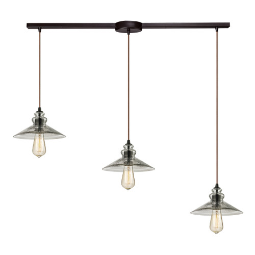 ELK Lighting 10332/3L Hammered Glass 3-Light Linear Pendant Fixture in Oiled Bronze with Hammered Clear Glass