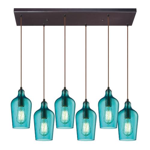 ELK Lighting 10331/6RC-HAQ Hammered Glass 6-Light Rectangular Pendant Fixture in Oiled Bronze with Hammered Aqua Glass
