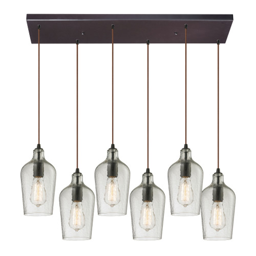ELK Lighting 10331/6RC-CLR Hammered Glass 6-Light Rectangular Pendant Fixture in Oiled Bronze with Hammered Clear Glass