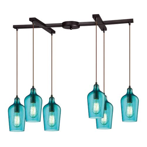 ELK Lighting 10331/6HAQ Hammered Glass 6-Light H-Bar Pendant Fixture in Oiled Bronze with Hammered Aqua Glass