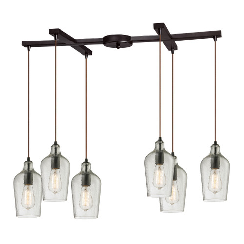 ELK Lighting 10331/6CLR Hammered Glass 6-Light H-Bar Pendant Fixture in Oiled Bronze with Hammered Clear Glass