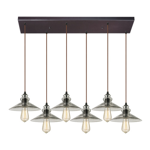 ELK Lighting 10332/6RC Hammered Glass 6-Light Rectangular Pendant Fixture in Oiled Bronze with Hammered Clear Glass