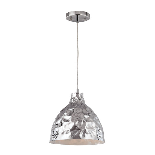 ELK Lighting 46211/1 Hammersmith 1-Light Mini Pendant in Polished Chrome with Hammered Metal Shade
