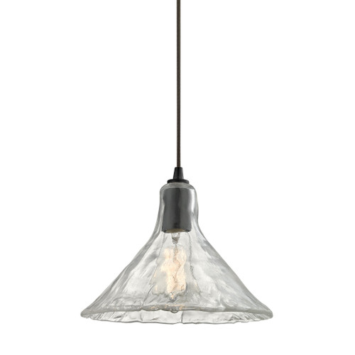 ELK Lighting 10435/1 Hand Formed Glass 1-Light Mini Pendant in Oiled Bronze with Clear Hand-formed Glass