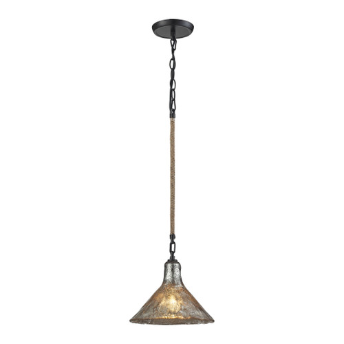 ELK Lighting 10436/1 Hand Formed Glass 1-Light Mini Pendant in Oiled Bronze with Mercury Glass