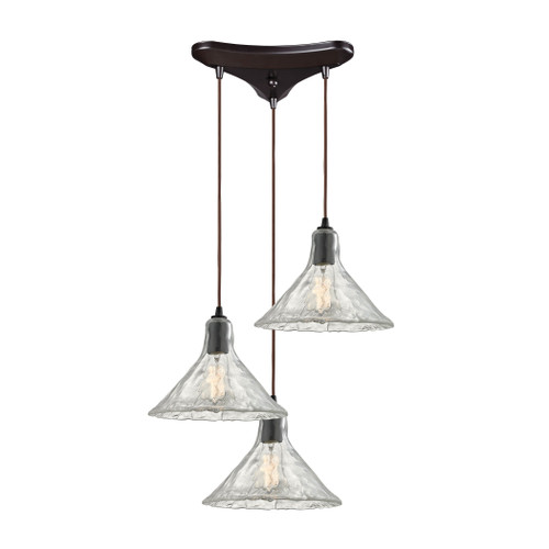 ELK Lighting 10435/3 Hand Formed Glass 3-Light Triangular Pendant Fixture in Oiled Bronze with Clear Hand-formed Glass