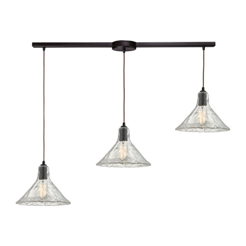 ELK Lighting 10435/3L Hand Formed Glass 3-Light Linear Pendant Fixture in Oiled Bronze with Clear Hand-formed Glass