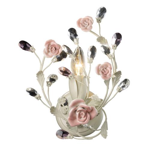 ELK Lighting 18093/1 Heritage 1-Light Vanity Lamp in Cream with Porcelain Roses and Crystal