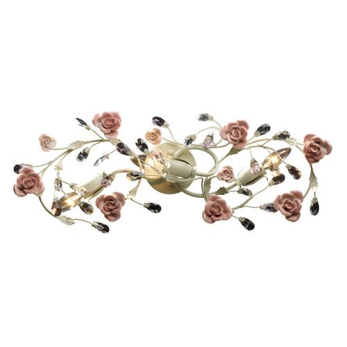 ELK Lighting 18094/3 Heritage 3-Light Vanity Lamp in Cream with Porcelain Roses and Crystal