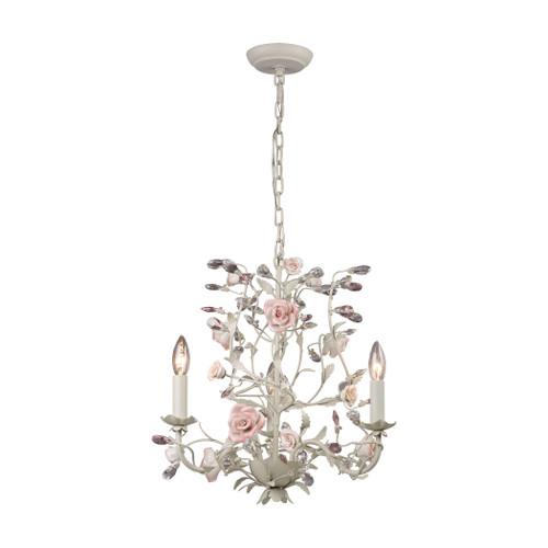 ELK Lighting 8091/3 Heritage 3-Light Chandelier in Cream with Porcelain Roses and Crystal