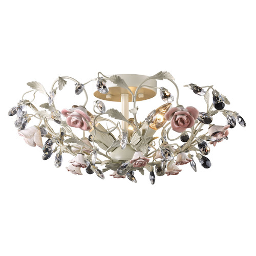 ELK Lighting 18096/3 Heritage 3-Light Semi Flush in Cream with Porcelain Roses and Crystal