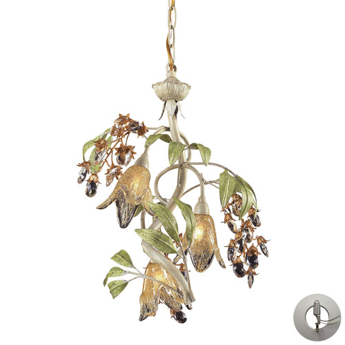 ELK Lighting 86051-LA Huarco 3-Light Chandelier in Seashell and Sage Green with Floral-shaped Glass - Includes Adapter Kit