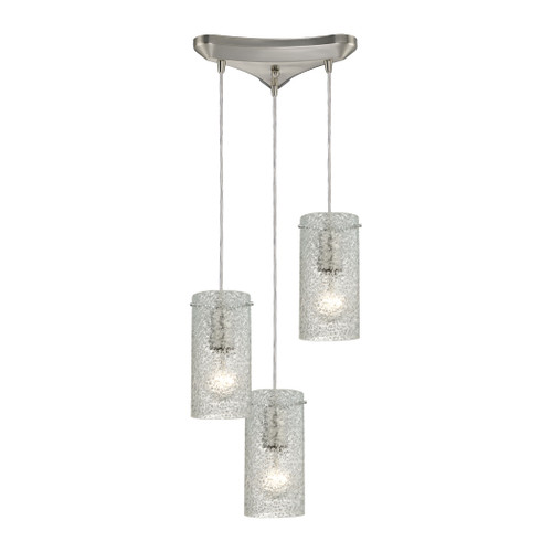 ELK Lighting 10242/3CL Ice Fragments 3-Light Triangular Pendant Fixture in Satin Nickel with Clear Glass