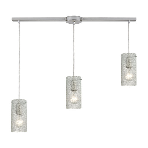 ELK Lighting 10242/3L-CL Ice Fragments 3-Light Linear Pendant Fixture in Satin Nickel with Clear Glass