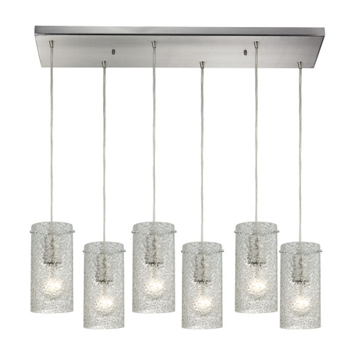 ELK Lighting 10242/6RC-CL Ice Fragments 6-Light Rectangular Pendant Fixture in Satin Nickel with Clear Glass