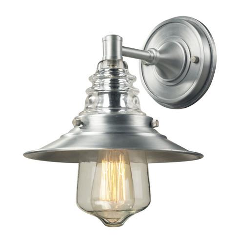ELK Lighting 66700-1 Insulator Glass 1-Light Outdoor Wall Lamp in Brushed Aluminum
