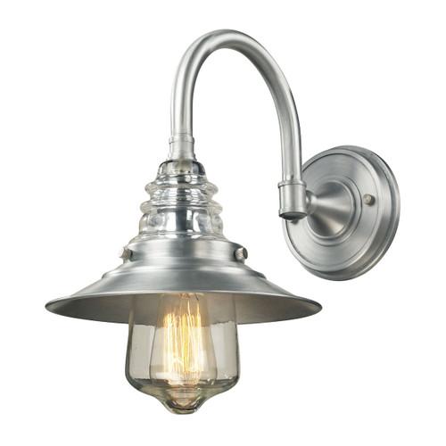 ELK Lighting 66702-1 Insulator Glass 1-Light Outdoor Wall Lamp in Brushed Aluminum