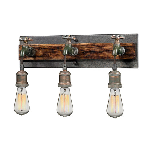 ELK Lighting 14282/3 Jonas 3-Light Vanity Lamp in Multi-Tone Weathered with Faucet Motif