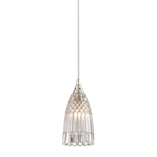 ELK Lighting 10458/1 Kersey 1-Light Mini Pendant in Satin Nickel with Clear Crystal